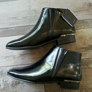Zara black with gold booties size 8